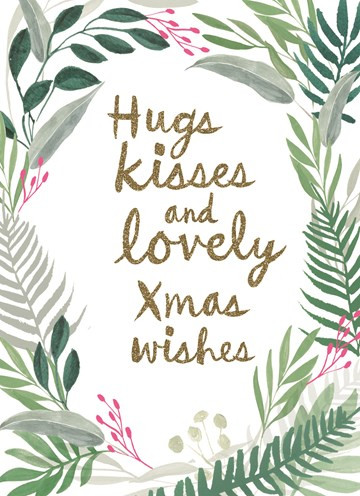Kerstkaart - Hugs-kisses-and-lovey-xmas-kisses
