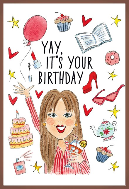 Cartoon Verjaardag Vrouw.Chocoladekaart Yay It Is Your Birthday