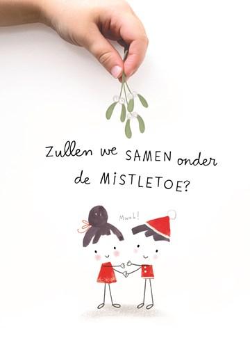 - kerstkaart-zullen-we-samen-onder-de-mistletoe