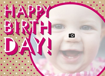 - fotokaart-stippen-roze-happy-birthday-girl
