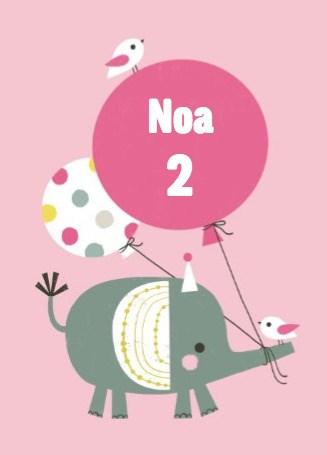 Verjaardagskaarten leeftijd - olifant-met-ballon
