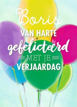 Verjaardagskaart tienerjongens - geel-blauw-roze-paars-ballon-