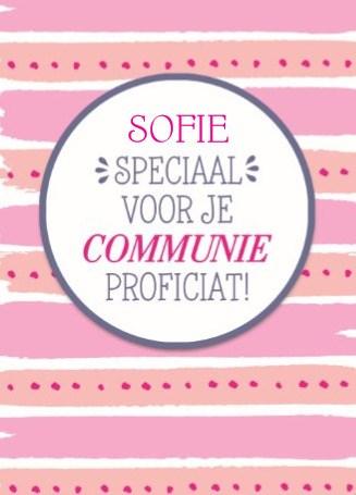 Communie kaart - speciaal-voor-je-communie-roze-oranje-strepen