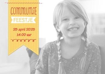 Uitnodiging maken - fotokaart-communie-feestje-meisje