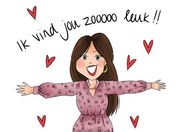 Valentijnskaart - Valentijnskaart-getekend-Ik-vind-jou-zooooo-leuk