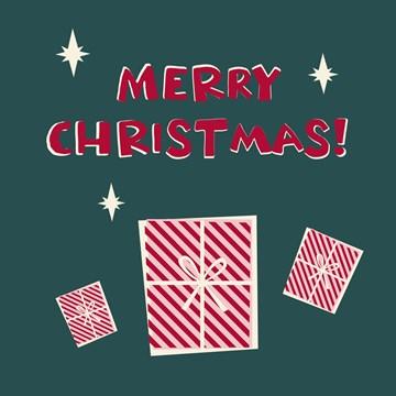 Kerstkaart - hallmark-kerstkaart-merry-christmas-kadootje