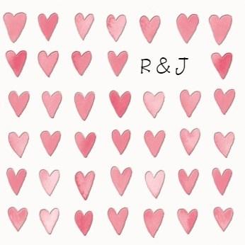 Valentijnskaart - hartjes-initialen