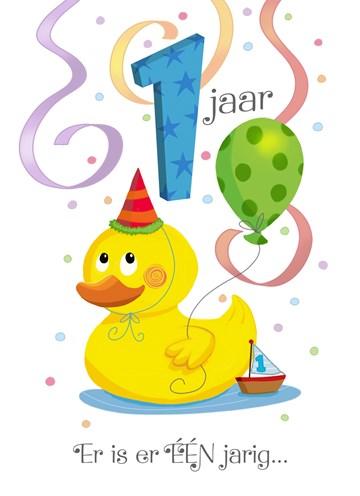 Verjaardagskaarten leeftijd - een-jaar-met-eend