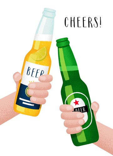 Gefeliciteerd kaart - felicitatiekaart - cheers-with-two-beers