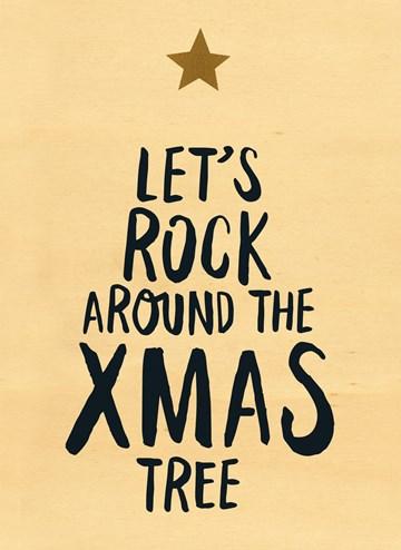 Kerstkaart - houten-kerstkaart-lets-rock-around-the-xmas-tree