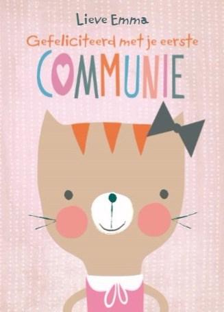 Communie kaart - lieve-kaart-gefeliciteerd-met-je-eerste-communie-kat-met-strik