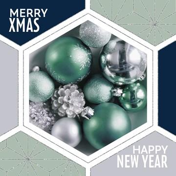 Kerstkaart - hexagonaal-met-kerstballen