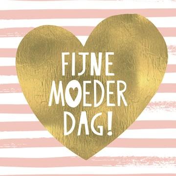 Moederdag kaart - een-fijne-moederdag-gewenst-voor-een-moeder-met-een-gouden-hart