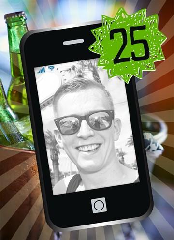 Verjaardagskaart leeftijden - fotokaart-telefoon-25-jaar-geworden