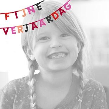 Verjaardagskaart kids - fotokaart-vierkant-fijne-verjaardag-vlag