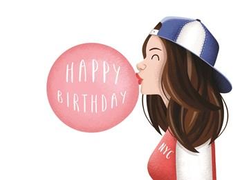 Verjaardagskaart meiden - meisje-met-kauwgum