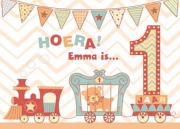 Verjaardagskaarten leeftijd - verjaardagskaart-hoera-een-jaar