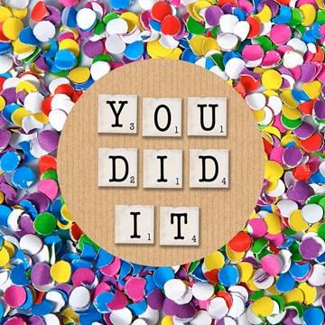 succes goed gedaan kaart - confetti-you-did-it