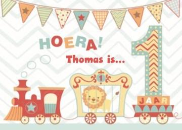 Verjaardagskaarten leeftijd - hoera-een-jaar-treintje-vlaggetjes