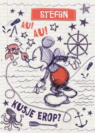 Disney kaart - disney-adult-mickey-mouse-au-au-kusje-erop