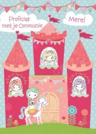 Communie kaart - princessen-kaart-gefeliciteerd-met-je-communie-princessen-kasteel