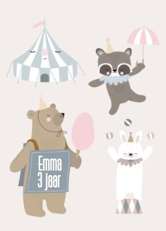 Verjaardagskaarten leeftijd - circusdieren