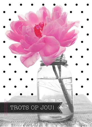 succes goed gedaan kaart - roze-bloem-trots-op-jou
