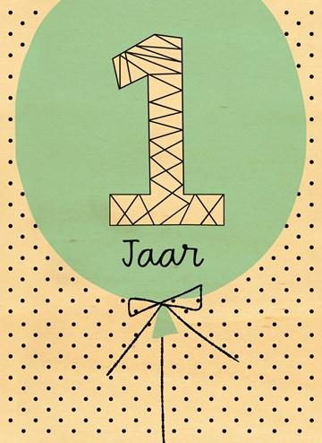 Verjaardagskaarten leeftijd - houten-kaart-jippie-1-jaar-op-een-ballon
