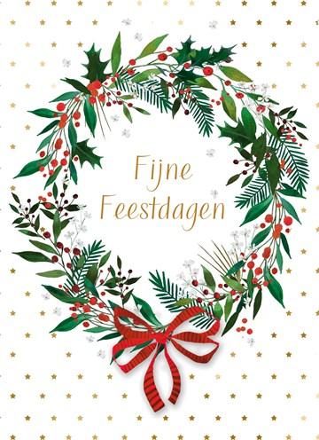 - Kerstkaart-klassiek-Kerstkrans-Fijne-feestdagen
