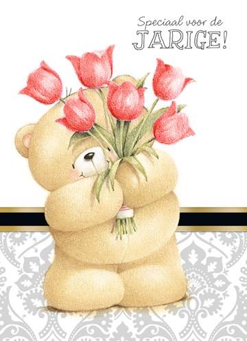 - beer-met-boeket-rode-tulpen