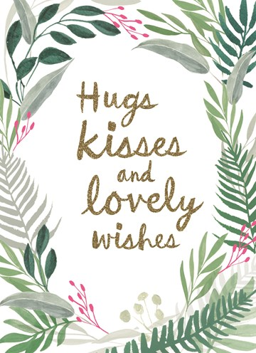 Gefeliciteerd kaart - felicitatiekaart - hugs-kisses-and-lovely-wishes