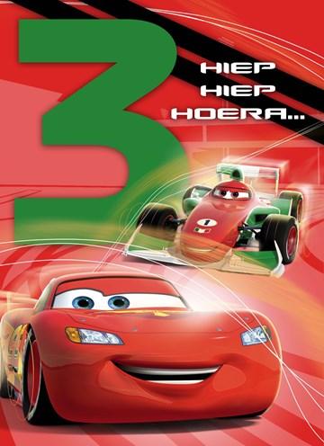 verjaardagskaart jongen - drie-hiep-hiep-hoera-cars