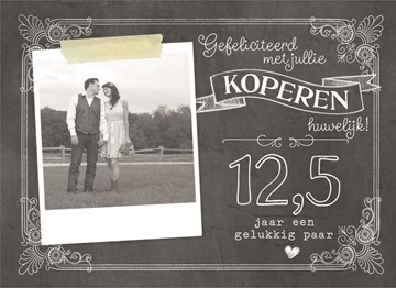 Huwelijkskaart met foto - gefeliciteerd-met-jullie-koperen-huwelijk