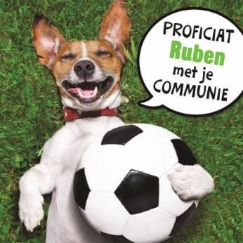 Communie kaart - proficiat-met-je-communie-met-een-sportieve-hond-