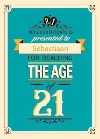Verjaardagskaart leeftijden - 21-jaar-jarig-leeftijd-eenentwintig
