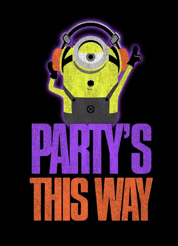 Felicitatiekaart - Verjaardagskaart-Minion-party-is-this-way