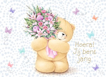 verjaardagskaart vrouw - beer-met-bos-bloemen-roze