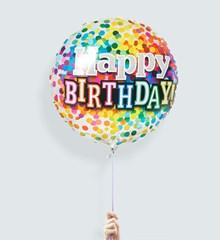 Ballon Happy Birthday Rainbow Confetti