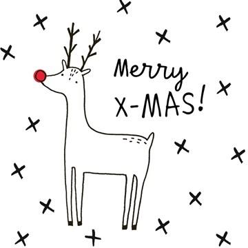 Kerstkaart - merry-xmas-deer