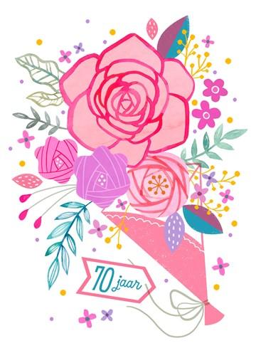 - Verjaardagskaart-leeftijden-vrouw-70-bloemen