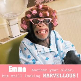 Verjaardagskaart vrouw - aap-met-veel-krulspelden