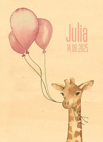 Geboortekaartje - houten-kaart-baby-dochter-giraffe