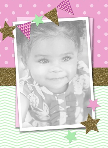 - fotokaart-roze-goud-mintgroen-vlaggetjes-sterretjes