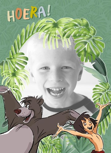 Verjaardagskaart kids - fotokaart-jungle-book-baloe-mowgli