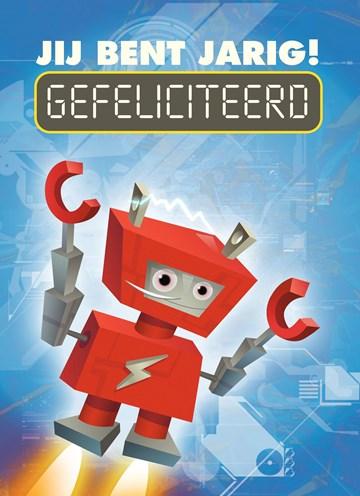 verjaardagskaart jongen - rode-robot-gefeliciteerd