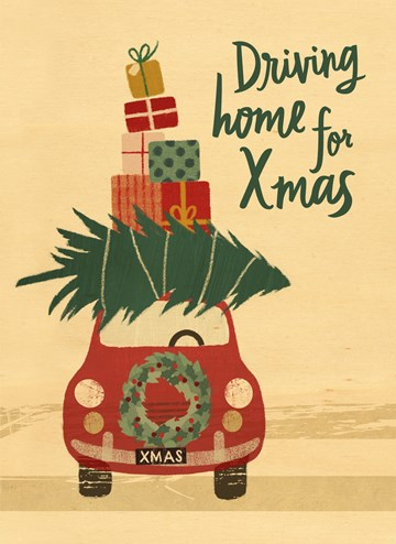 Kerstkaart - driving-home-with-the-tree