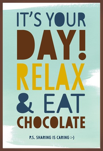 Felicitatiekaart - relax-man-eat-chocolate